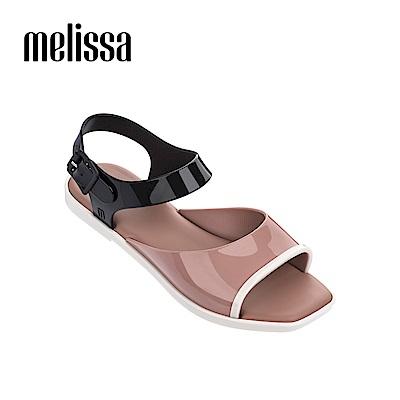 Melissa 復古方頭撞色涼鞋-粉色