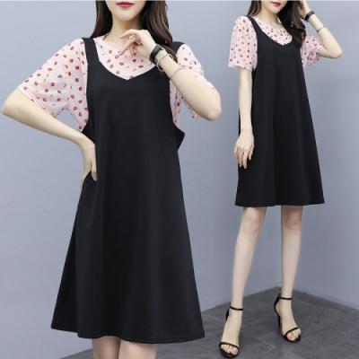 中大尺碼粉色網紗小紅花上衣加黑色吊帶背心裙套裝XL~4L-Ballet Dolly