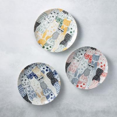 有種創意 日本美濃燒-酷花貓餐盤 - 三件組