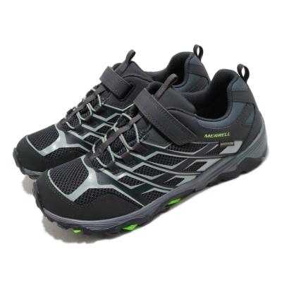 Merrell 戶外鞋 Moab FST Waterproof 女鞋 登山 越野 魔鬼氈 透氣 防水 中大童 黑 灰 MK264178