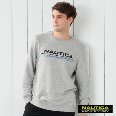 Nautica COMPETITION經典素色長袖大學T恤- 灰色