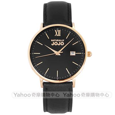 NATURALLY JOJO 簡約風尚真皮手錶男錶-黑X玫瑰金框/41mm