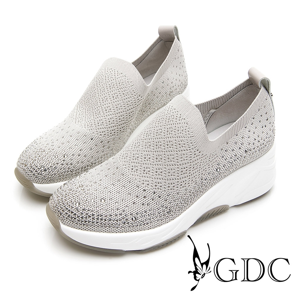 GDC-飛織水鑽經典素色厚底休閒鞋-米色