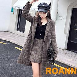 翻領格紋外套+格紋短裙兩件套 (格紋)-ROANN