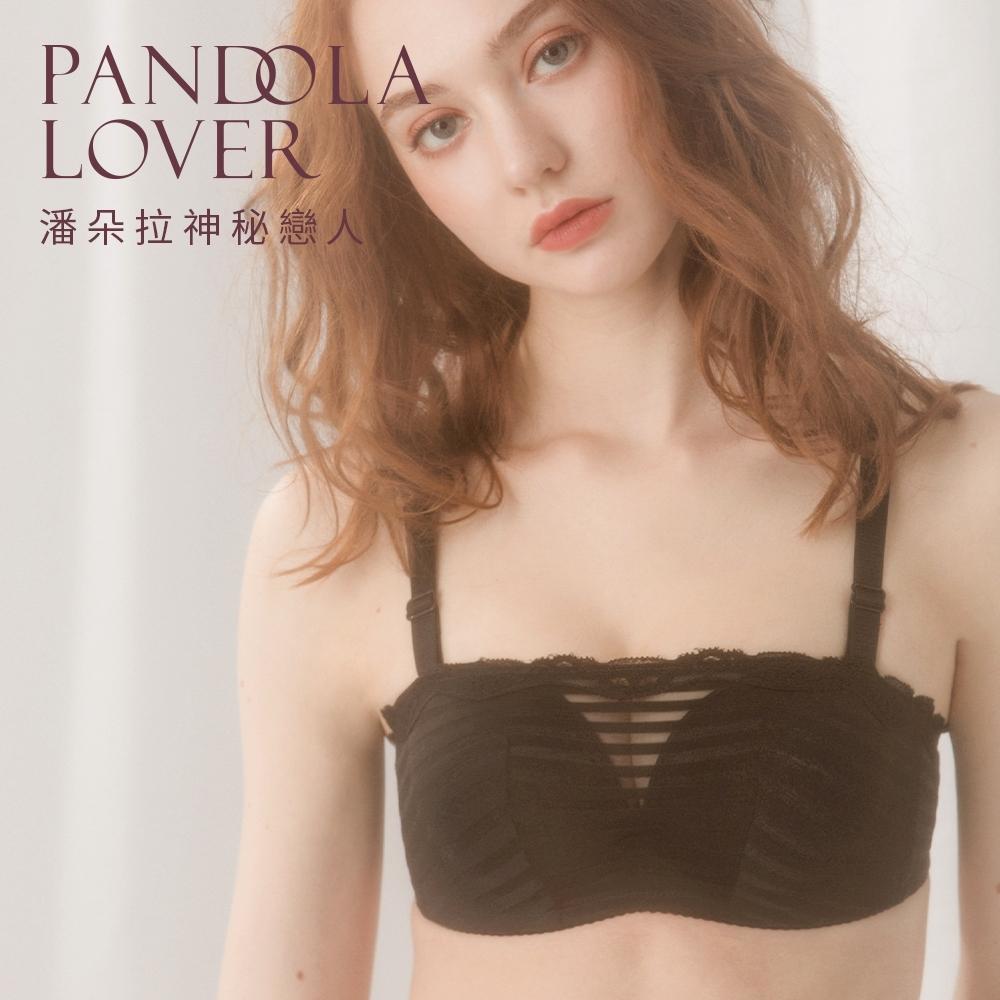 潘朵拉神秘戀人-無肩帶橫條蕾絲透膚內衣 70325(黑色)