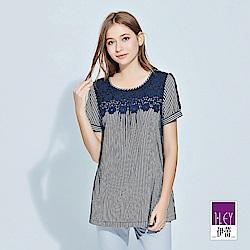 ILEY伊蕾 水溶蕾絲裝飾條紋棉質上衣(藍)