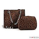 La Moda 性感時尚大容量豹紋肩背斜背子母鏈帶包(棕豹紋)