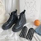 KEITH-WILL時尚鞋館 好評加碼皮質綁帶短靴-黑色