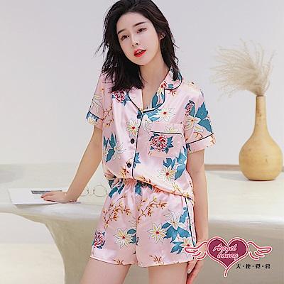 居家睡衣 清雅香芬 二件式短袖襯衫式成套休閒服(淺粉F) AngelHoney天使霓裳