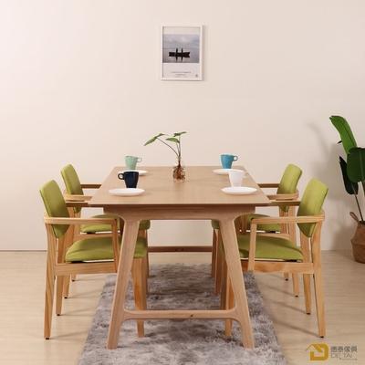 D&T 德泰傢俱 Novi北歐時尚北美松木扶手椅(原木色+綠色貓抓皮)寬54X深52X高79公分
