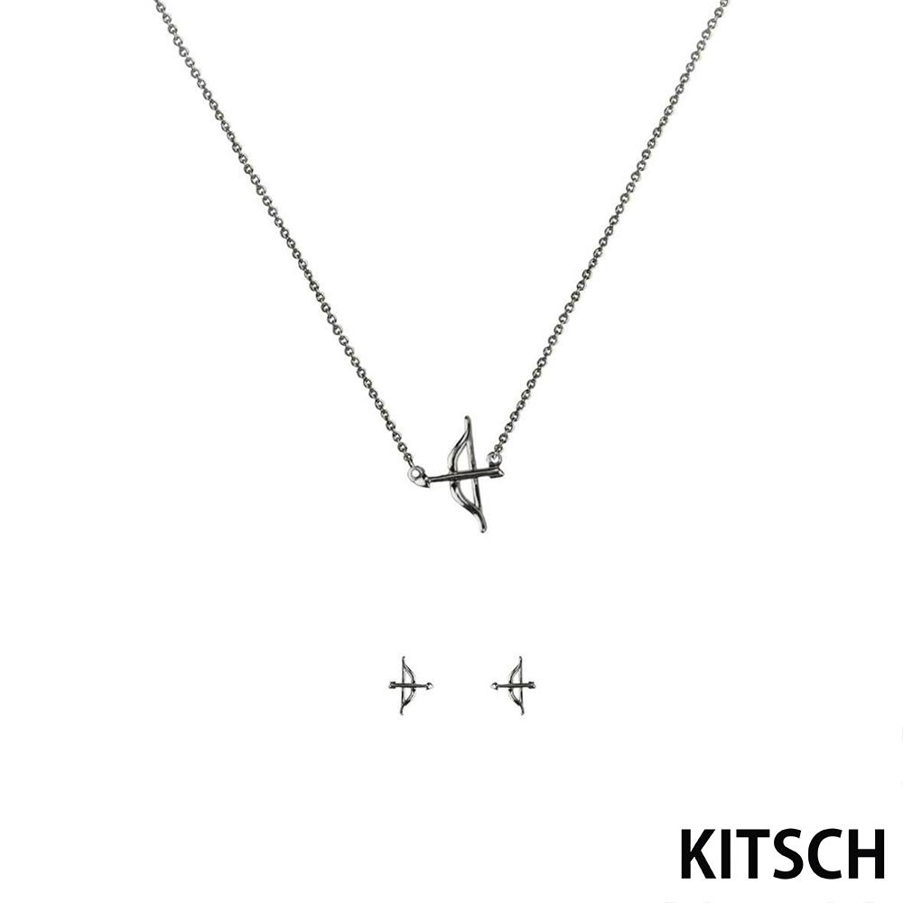 KITSCH 美國加州時尚品牌 神話邱比特925純銀耳環項鍊套組