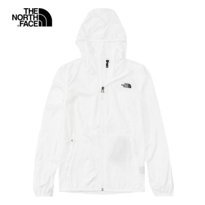 The North Face北面女款白色防潑水防曬連帽外套 4NEJLA9