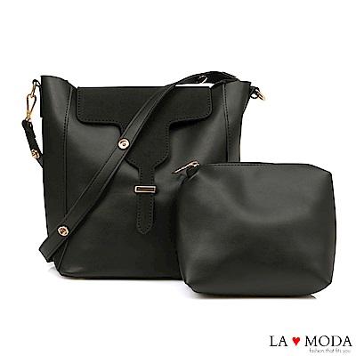 La Moda 極簡異材質拼接設計大容量肩背斜背子母包(黑)
