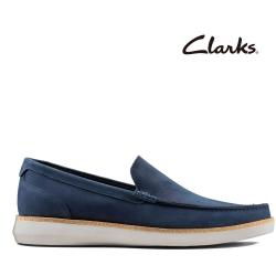 Clarks 步步清新 全皮面復古簡約風正裝休閒便鞋 海軍藍