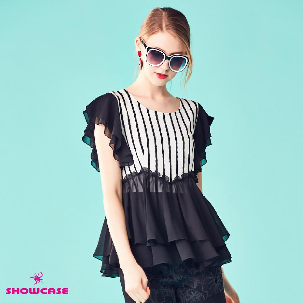 【SHOWCASE】雪紡荷葉襬條紋顯瘦剪裁上衣(黑)