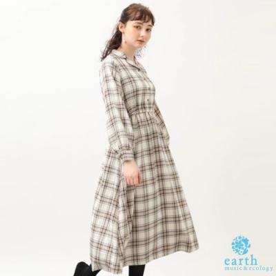 earth music 經典格紋襯衫式連身洋裝