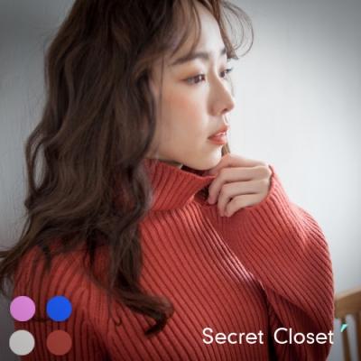 Secret Closet-純色套頭高領針織毛衣