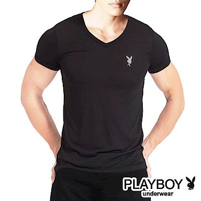PLAYBOY 速乾機能服 排汗速乾透涼V領短袖衫(黑)
