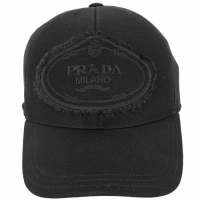 PRADA 品牌家徽不修邊設計帆布棒球帽(黑色)