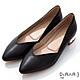 DIANA 3cm羊皮線條珍珠電鍍飾釦尖頭低跟鞋-優雅女伶-黑 product thumbnail 1