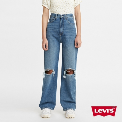 Levis 女款 High Loose 復古超高腰牛仔寬褲 精工中藍染水洗 開口大破壞 寒麻纖維