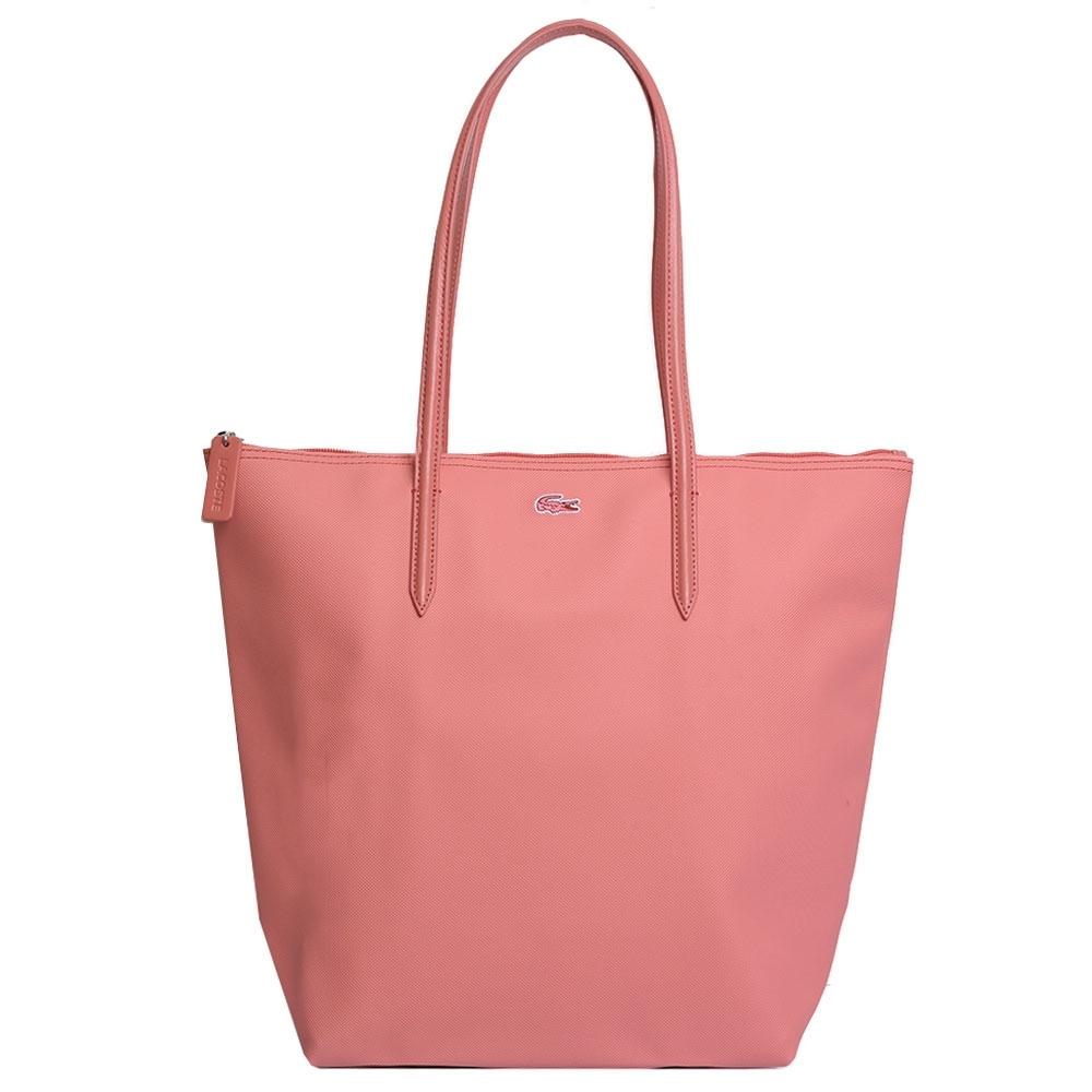 LACOSTE 經典鱷魚LOGO圖騰刺繡肩背托特購物包(粉紅色)