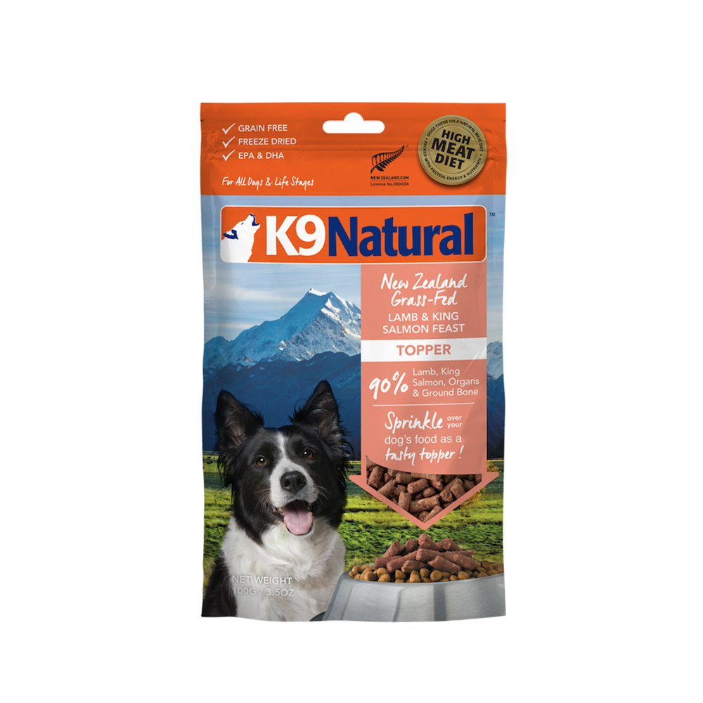 紐西蘭K9 Natural冷凍乾燥狗狗生食餐90% 羊肉+鮭魚 100G