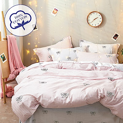 A-one - 100%純棉 雙人加大床包枕套三件組 -艾莉絲 台灣製