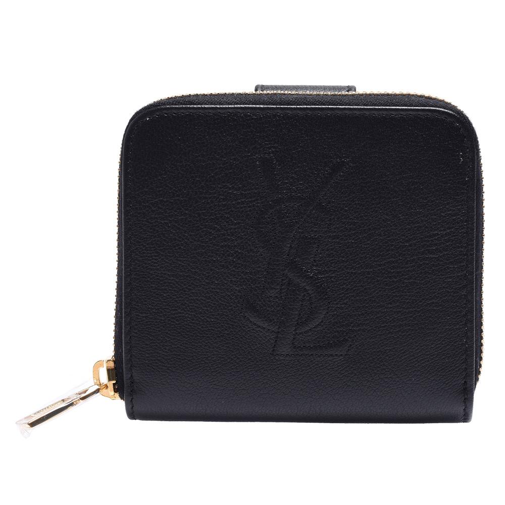 YSL Belle de Jour系列品牌字母LOGO縫線牛皮暗釦短夾(黑) @ Y!購物
