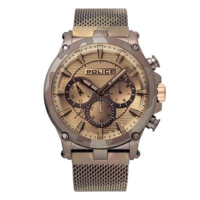 POLICE 王者風範三眼時尚米蘭帶手錶-迷彩金/47mm