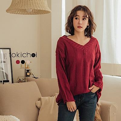 東京著衣 好感度增溫多色寬V領不收邊針織上衣(共三色)