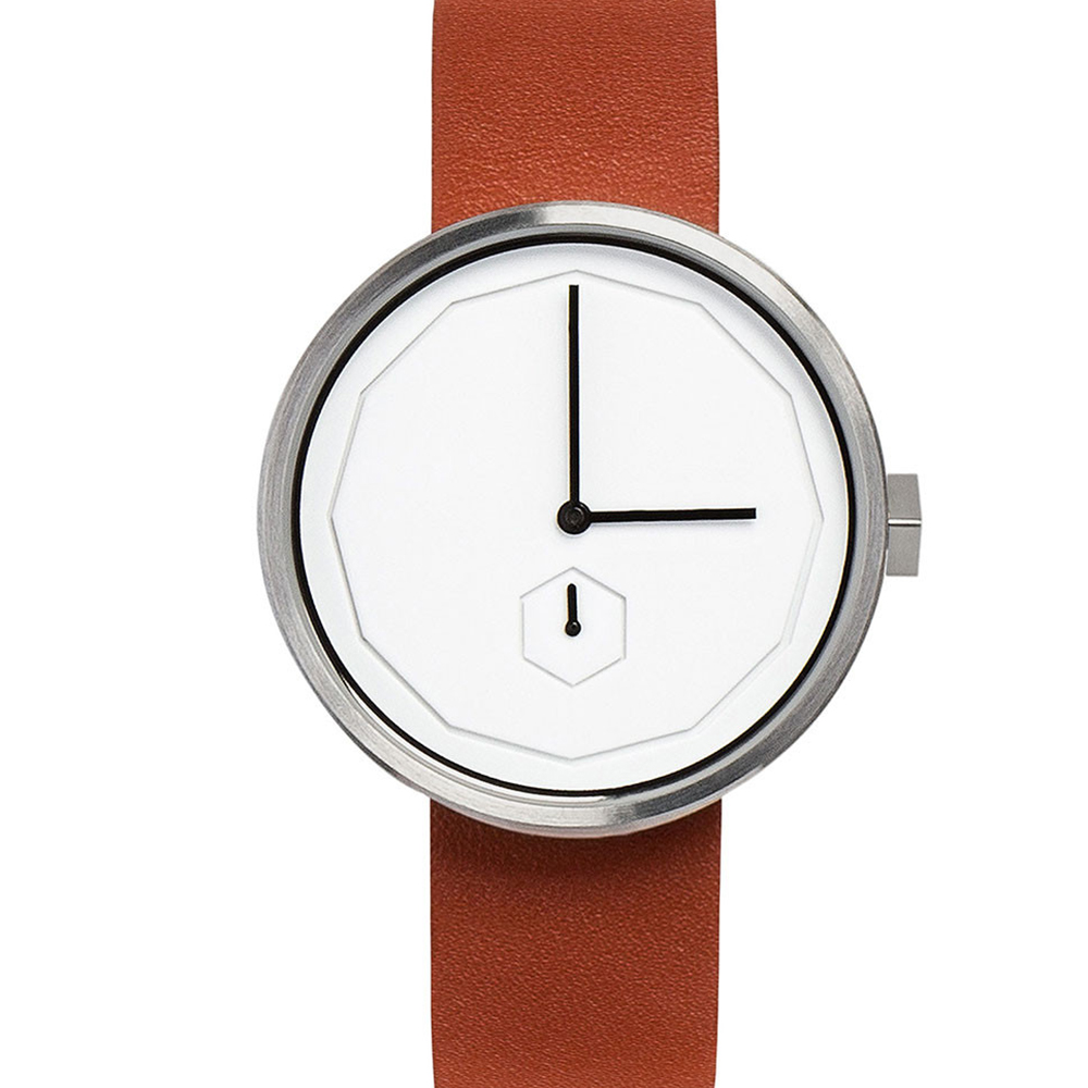 AÃRK 質感銀幾何簡約真皮革腕錶 /白38mm @ Y!購物
