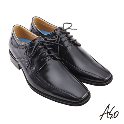 A.S.O  菁英通勤綁帶德比紳士鞋-黑