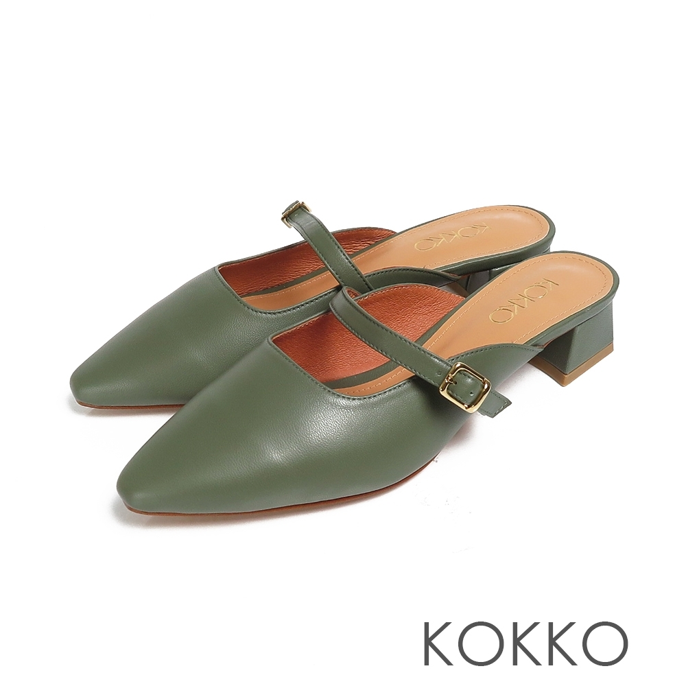 KOKKO方頭穆勒繫帶真皮粗跟鞋森林綠