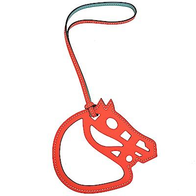HERMES Paddock Cheval Veau Swift 馬頭雙色鏤空吊飾(藍X)