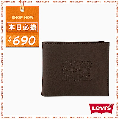 Levis 短款皮夾 LOGO 咖啡色