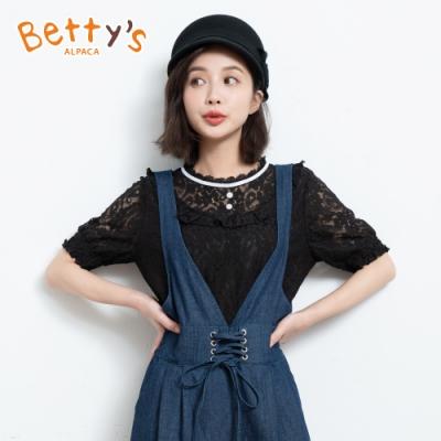 betty's貝蒂思 蕾絲蔞空荷葉袖上衣(黑色)