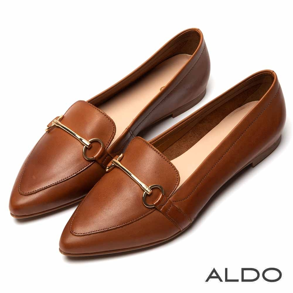 ALDO 原色羊皮佐金屬車線尖頭鞋~氣質焦糖