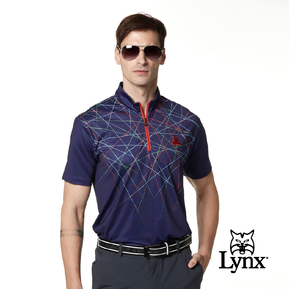 【Lynx Golf】男款吸濕排汗合身版半身線條塗鴉印花造型拉頭短袖立領POLO衫-深藍色