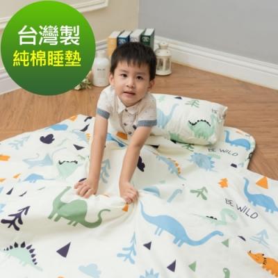 Leafbaby 台灣製幼兒園專用可機洗精梳純棉兒童睡墊三件組 恐龍班