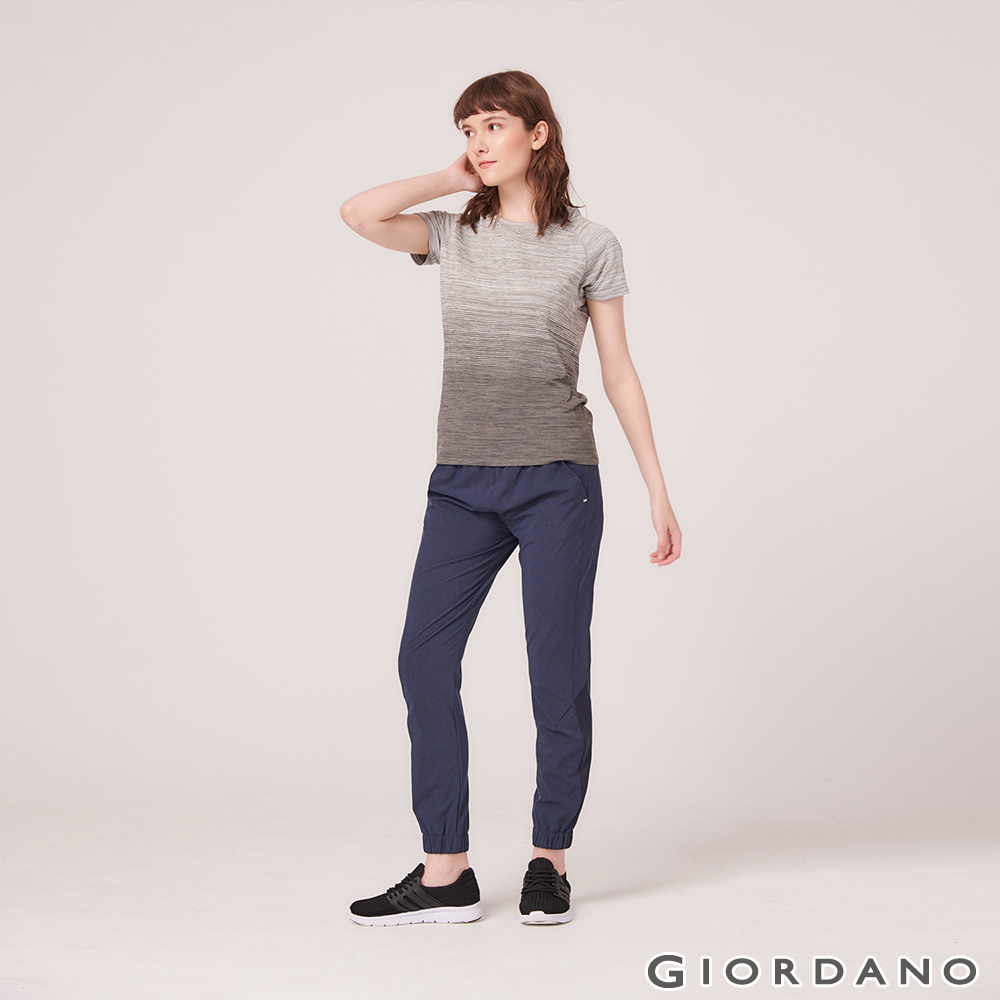 GIORDANO 女裝3M抗污透氣彈性運動休閒束口褲-15 深花藍