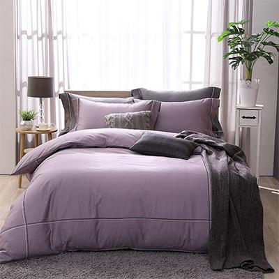 LASOL睡眠屋-300織雙色刺繡設計款精梳棉 雙人兩用被床包四件組 品味紫