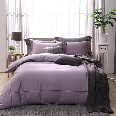 LASOL睡眠屋-300織雙色刺繡設計款精梳棉 特大兩用被床包四件組 品味紫