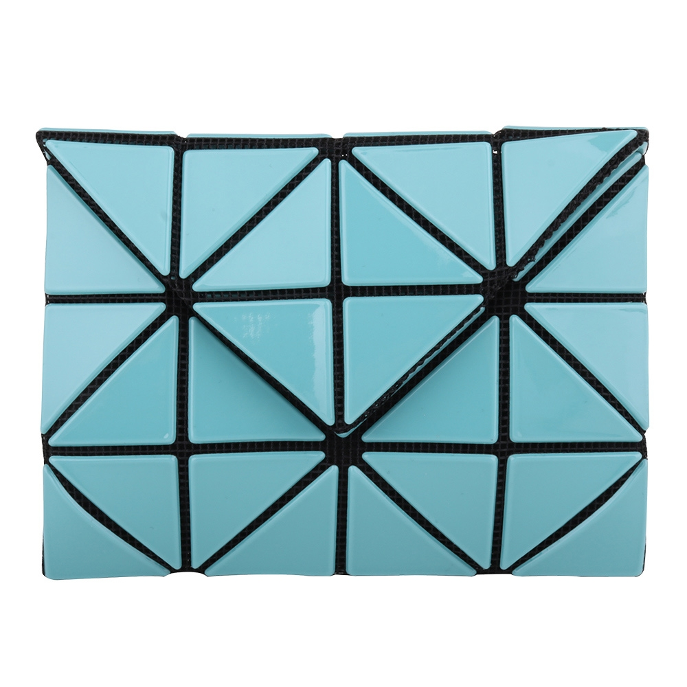 ISSEY MIYAKE  BAOBAO 幾何方格3x4對開釦式零錢包(湖水藍)亮面