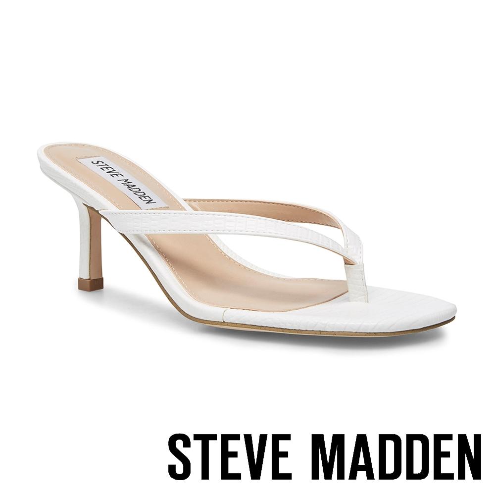 STEVE MADDEN-MELROSE 性感簡約質感壓紋人字細跟涼拖鞋-白色