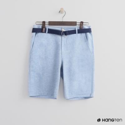 Hang Ten - 男裝 - 腰帶造型牛仔刷色短褲-淺藍