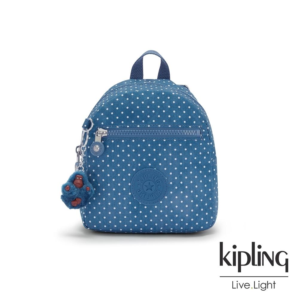Kipling 復刻單寧水玉藍簡約時尚拉鍊後背包-WINNIFRED
