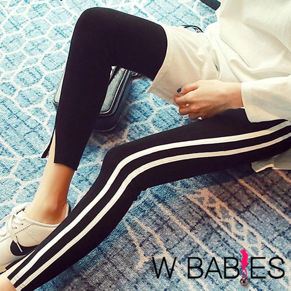 正韓 運動風線條小開衩內搭褲 (黑色)-W BABIES