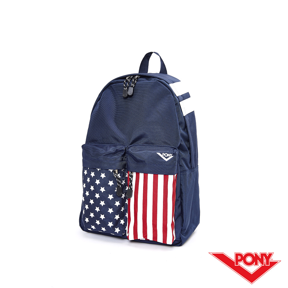【PONY】美式休閒風格後背包-藍