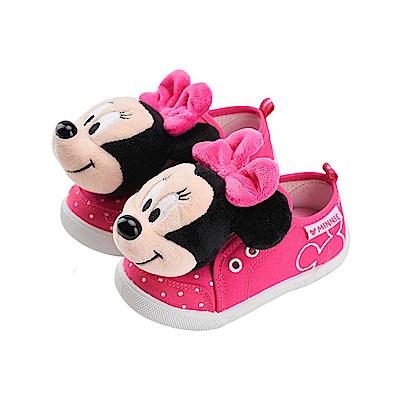 迪士尼 米妮 可拆式立體玩偶造型 魔鬼氈休閒鞋-桃